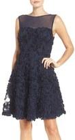 ECI Women's Soutache Overlay Fit & Flare Dress
