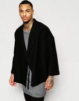 Asos Wrap Front Kimono in Black Wool