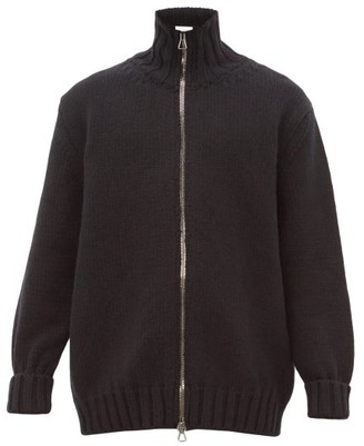 Raey Zip-up Ribbed-trim Wool Cardigan - Mens - Black