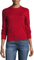 Frame Waffle Crewneck Long-Sleeve Sweater, Red