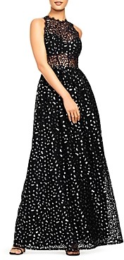 Aidan Mattox Metallic Leopard Lace Gown