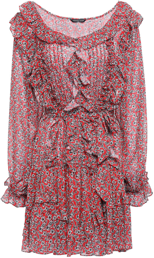 Marissa Webb Ruffled Pintucked Georgette Mini Dress