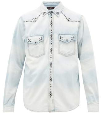 Amiri Studded Denim Western Shirt - Mens - Indigo