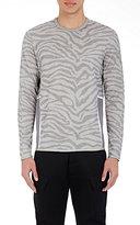 Oamc Men's Zebra-Striped Sweatshirt-Grey Size L