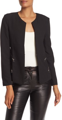 Gracia Split Neck Zip Pocket Jacket