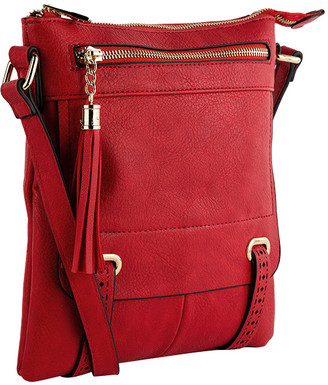 MKF Collection by Mia K. Women's Crossbodies - Red Tassel-Accent Crossbody Bag