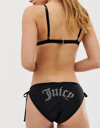 Juicy Couture faux pearl logo back bikini bottom-Black