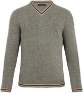 THE GIGI Greg striped-trim V-neck sweater