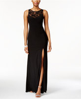 Xscape Evenings X by Rhinestone Illusion Lace Gown