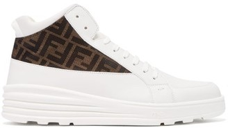 Fendi Ff-jacquard High-top Leather Trainers - Mens - White Multi