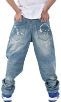 Sunsnow Men's Hip Hop Washed Baggy Denim Jeans Relaxed Fit