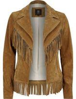 River Island Womens Tan brown suede fringed western jacket