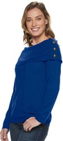 Croft & Barrow Petite Button-Accent Portrait Neckline Sweater