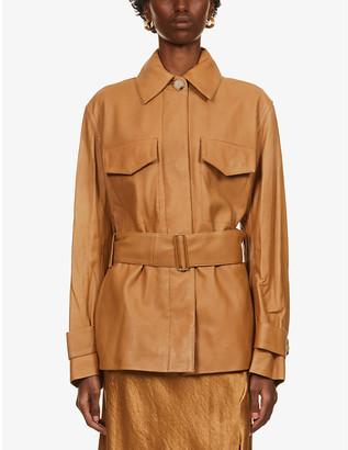 Vince Safari leather belted jacket