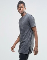 Asos Super Longline T-Shirt With Trapeze Hem And Tie Sides In Acid Wash