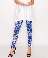 Lbisse Women's Leggings Royal - Royal Blue & Pink Floral Leggings - Women & Plus
