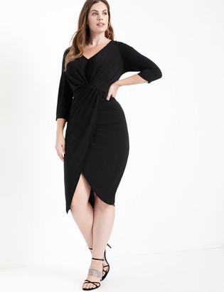 ELOQUII Long Sleeve Draped Front Midi Dress