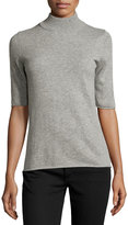 philosophy Cashmere Half-Sleeve Mock-Neck Top, Gray