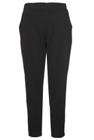 Quiz Curve Black Crepe Tapered Trousers