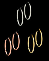 Set Of 3 Italian Silver Tri Color Hoops