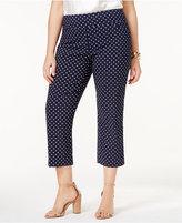 Charter Club Plus Size Cambridge Tummy-Control Polka-Dot Capri Pants, Created for Macy's
