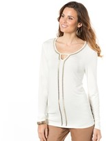 Anne Weyburn Long-Sleeved Sparkly Studded T-Shirt