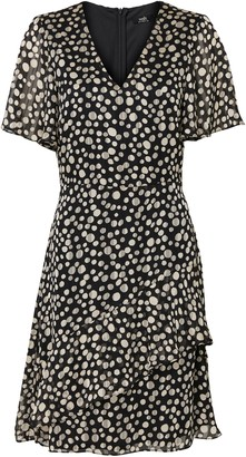 Wallis Monochrome Polka Dot Fit and Flare Dress