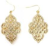 Line & Dot Dot & Line silver filigree vintage floral hollow crystal dangle earrings