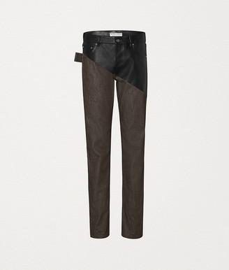 Bottega Veneta Pants In Denim And Leather