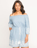 ELOQUII Plus Size Off the Shoulder Embroidered Chambray Romper