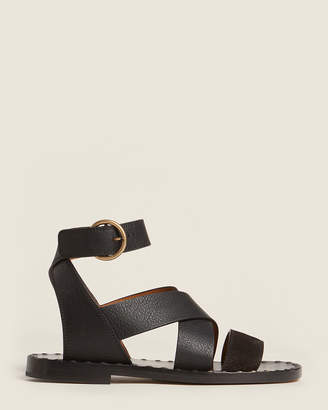 Chloé Charcoal Black Ankle Strap Flat Leather Sandals