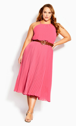 City Chic Halter Pleat Dress - sugar