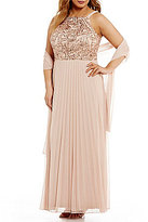 Cachet Plus Halter Neck Sequined Pleated Gown