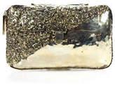 Anndra Neen Antique Gold Tone Diagonal Melted Metal Clutch Handbag New $725