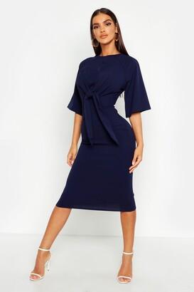 boohoo Knot Front Detail Wrap Midi Dress