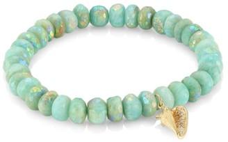 Sydney Evan 14K Yellow Gold, Diamond & Ab Amazonite Conch Shell Beaded Bracelet