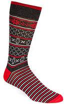 Daniel Cremieux Fair Isle Foot Stripe Crew Dress Socks