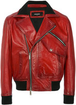 DSQUARED2 biker jacket - men - Cotton/Leather/Polyamide/Wool - 48