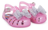 Mini Melissa Pink Jelly Sandals with Silver Bow