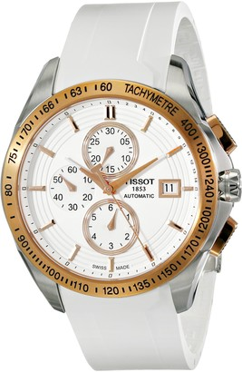 Tissot Men's 'Veloci-T' White Dial White Rubber Strap Chronograph Watch T024.427.27.011.00