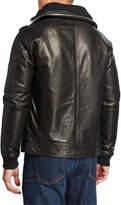 Karl Lagerfeld Men's Leather Jacket w/ Packaway Hood