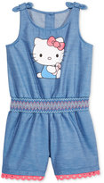 Hello Kitty Graphic Chambray Cotton Romper, Toddler & Little Girls (2T-6X)