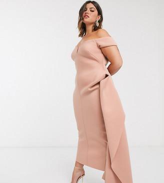 ASOS DESIGN Curve bardot plunge side pep tuck maxi dress