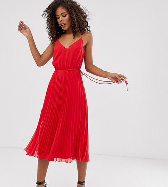 Asos Tall DESIGN Tall pleated cami midi dress with drawstring waist-Red