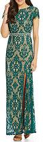 Jodi Kristopher Flutter Sleeve Long Lace Dress