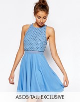 ASOS Tall ASOS TALL Skater Dress with Embellished Grid