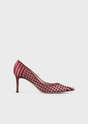 Giorgio Armani Court Shoes In Embroidered Satin With Asymmetric Top Line