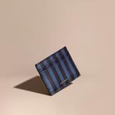 Burberry Pyjama Stripe London Leather Card Case, Blue
