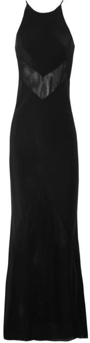 Alexander Wang Mesh-paneled silk maxi dress