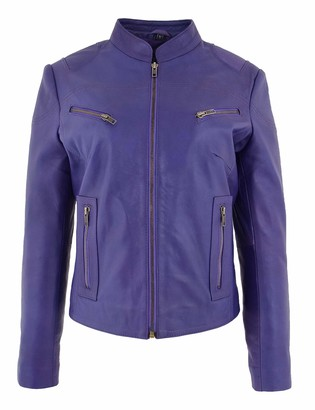 Hol Ladies Leather Biker Style Standing Collar Casual Zip up Jacket Becky Purple (20)
